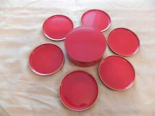 Set of 6, Otagiri OMC Coasters Vintage 1960's Red Lacquer Gold Trim, with Box