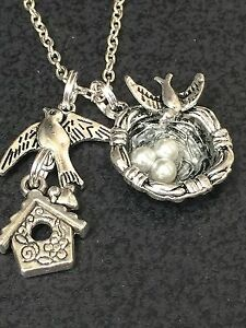 "Bird Sparrow Birdhouse and Nest Bird Eggs Pearl Charm Tibetan Silver 18""Necklace"