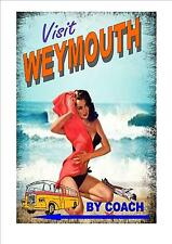 Weymouth Vintage Retro Style  Novelty Travel Metal Door  Sign   Coach Holiday