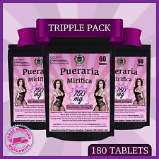 180 TABS PUERARIA MIRIFICA 750mg BREAST BUST ENLARGEMENT FEMALE ESTROGEN HORMONE