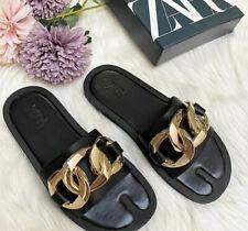 Zara Black Flat Chain Sandals. Size UK 5. Euro 38