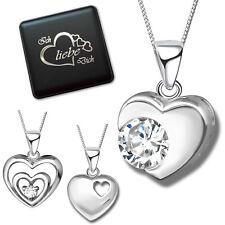 Anhänger mit Halskette Zirkonia Herz Kette 925 Sterling Silber für Damen Frauen