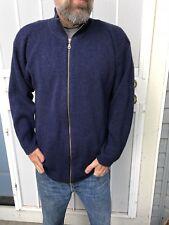 Vtg Hong Kong Patagonia Navy Blue Mens XL 100% Wool Full Zip Sweater Cardigan