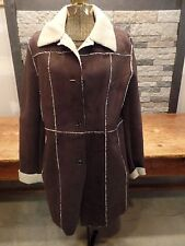 Marc New York Andrew Marc Faux Suede Jacket Coat Sherpa Lined Women's M