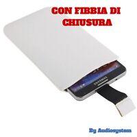 CUSTODIA COVER SACCHETTO per ASUS ZENFONE 3 DELUXE ZS570KL IN PELLE BIANCO CALZA
