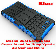 For Sony Xperia Z3 Compact Blue Heavy Duty Strong Tradesman TPU Hard Case Cover