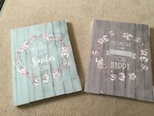 Set Of Two Shabby Chic Heart Floral Canvas Wall Art Pictures