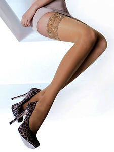 Hold-Ups Stockings With Floral Wide Lace 15 Den Various Colours And Size