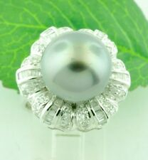 18k Solid White gold Natural Tahitian Pearl Diamond Ring 0.65 ct 12.7mm pearl