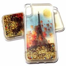 For iPhone X Paris Eiffel Tower Fall Autumn Gold Glitter Stars Liquid Water Case