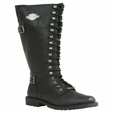 HARLEY DAVIDSON BEECHWOOD D83856 LADIES ZIP LACE LEATHER MOTORCYCLE LONG BOOTS