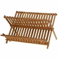 WOODEN BAMBOO DISH DRAINER FOLDABLE KITCHEN DRYING RACK STORAGE HOLDER 187254