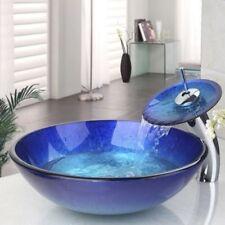US Tempered Glass Bathroom Vessel Sink & Chrome Single Lever Faucet Combo Set