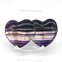 "3.9"" Double Heart Figurine Fluorite Crystal Healing Natural Gemstone Decor Gift"