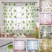 1/2PCS Floral Vines Tulle Window Door Sheer Curtains Scarf Drape Panels Voile WA