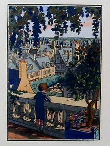Pierre Brissaud L'ENFANT A LA BALUSTRADE 1929 Edition Originale  pochoir