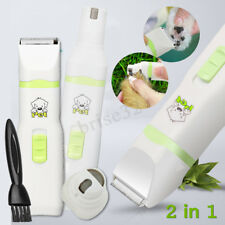 2in1 Pet Cat Dog Hair Clipper Paw Nail Grinder Cordless Grooming Trimmer Cutter