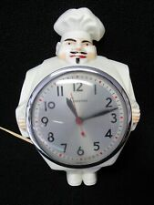 Vintage Sessions Fat Chef Baker - Chrome Trimmed Electric Kitchen Wall Clock