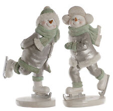 Skating Snow Boy & Girl Christmas Figurine Gift Set  NEW
