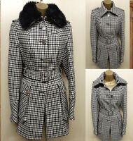 UK 12 KAREN MILLEN Houndstooth Check Wool Winter Military Coat Jacket Fur Collar