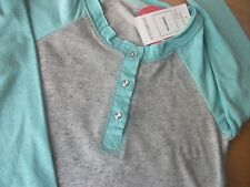 Girls Marks & Spencer long sleeve t-shirt aqua & grey marl diamante age 5-6 NEW