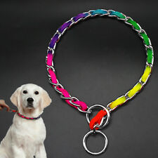 Rainbow Dog Collar Strong P Choke Braided Chain Pet Training Collars Necklace