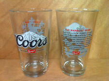 Coors Banquet Beer 16 oz Pint Glass Set - New Set of 2 Glasses  NEW