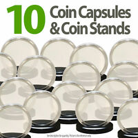 10 Coin Capsules & 10 Coin Stands for DIMES Direct Fit Airtight 18mm Dime Holder