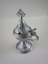Greek Christian Orthodox Aluminium  Church Censer Incense Silver Burner w Cross