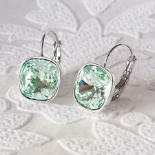 Chrysolite Mint Green Leverback Drop Earrings w/ Cushion Cut Swarovski Crystal