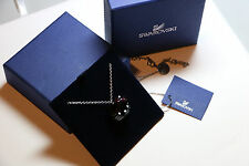 Rare Retired Swarovski Hello Kitty Jet Black Crystal Pendant Necklace With Box