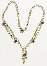 collier bijou vintage rivière cristaux diamant et rubis couleur or blanc * 3209