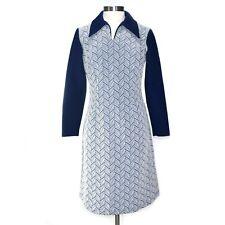 Vintage Bleeker Street 70s Blue White Geo Knit Long Sleeve Dress Large