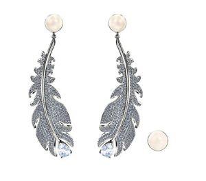 Swarovski Earrings Studs Nice Feather Rhodium-Plated New