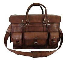 Real Leather Briefcase Travel Bag Handbag Luggage Holdall Duffle Bag Large 22""