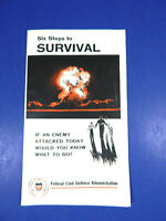 Federal Civil Defense Admin Six Steps To Survival Pamphlet