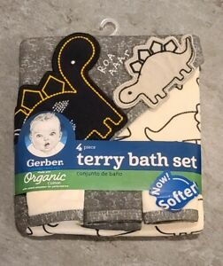 Gerber Organic Cotton 4-Piece Terry Bath Set— Dinosaur, (Towel & 3 Rags)  Dino