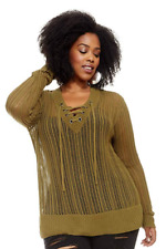 Women's Plus Size Jayda Open Stitch Lace Up Sweater