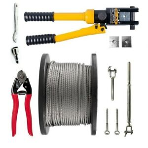 Balustrade Wire Kit 7 x 7 3.2mm Stainless 316 Rope Swaging Jaw/Swage Tool/Cutter