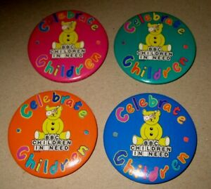 PUDSEY BEAR BBC TV vintage 1990s groupx4 CELEBRATE children in need pin BADGES