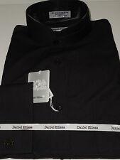 Mens Black High Collar Nehru Collarless Style French Cuff Dress Shirt DS3002C