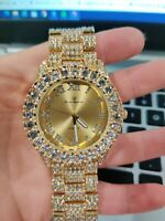 Men Iced Fully Watch Bling Rapper Simulate Diamond Metal Band Gold Luxury Cubic
