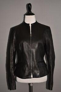 HUGO BOSS NEW $795 Samuta Lamb Leather Zip Jacket in Black Size 4