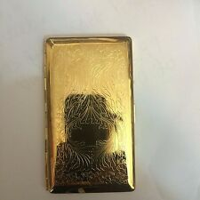 Gold Art Deco Scroll Mirror Tissue Cigarette Case Business Credit Card Holder
