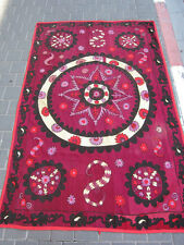 ANTIQUE UZBEK SILK HAND MADE- EMBROIDERED SUZANI 203x133-cm / 79.9x52.3-inches