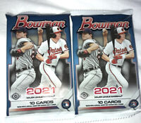 TWO X 2021 BOWMAN BASEBALL HOBBY PACK NEW FACTORY SEALED PACK 10 CARDS PER PACK