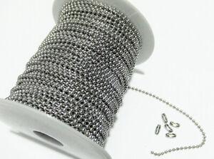 1mt catena a pallini sfere 2mm(+ 5 chiusure) acciaio inox colore argento scuro