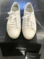 SAINT LAURENT PARIS WOMENS WOLLY SOFT OFF WHITE WEDGE SNEAKER IN SIZE UK 5/EU 38