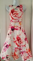 Womens Coast White Pink Floral Full Circle Occasion Midi Fit And Flare Dress 6.