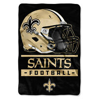 "New NFL New Orleans Saints Sideline OVERSIZED Plush Super Soft Blanket 62""x90"""